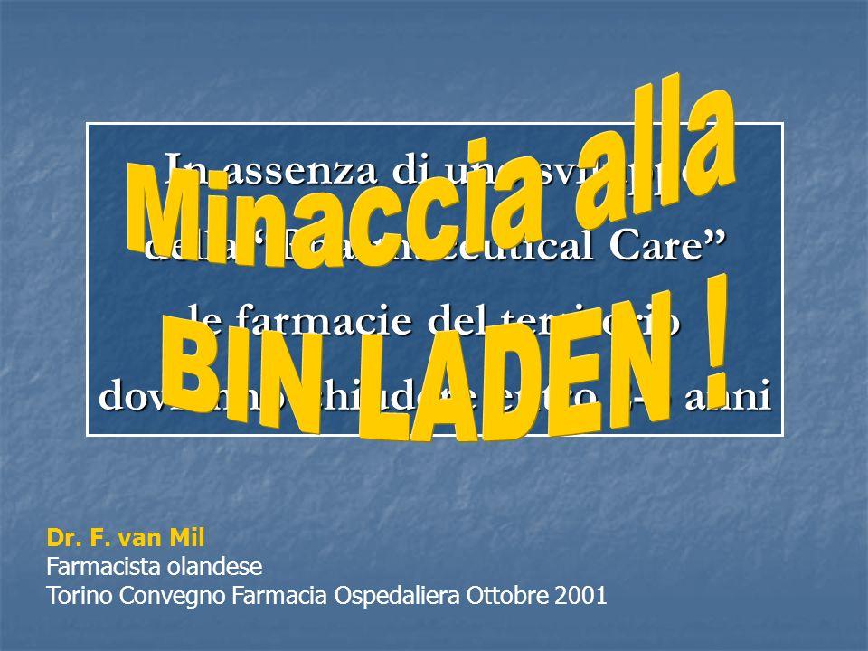 In assenza di uno sviluppo della Pharmaceutical Care le farmacie del territorio dovranno chiudere entro 2-3 anni Dr.