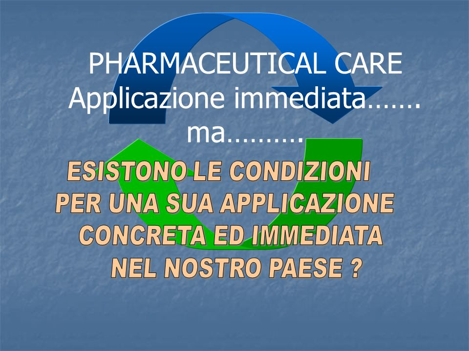 PHARMACEUTICAL CARE Applicazione immediata……. ma……….