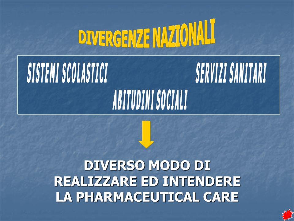 DIVERSO MODO DI REALIZZARE ED INTENDERE LA PHARMACEUTICAL CARE