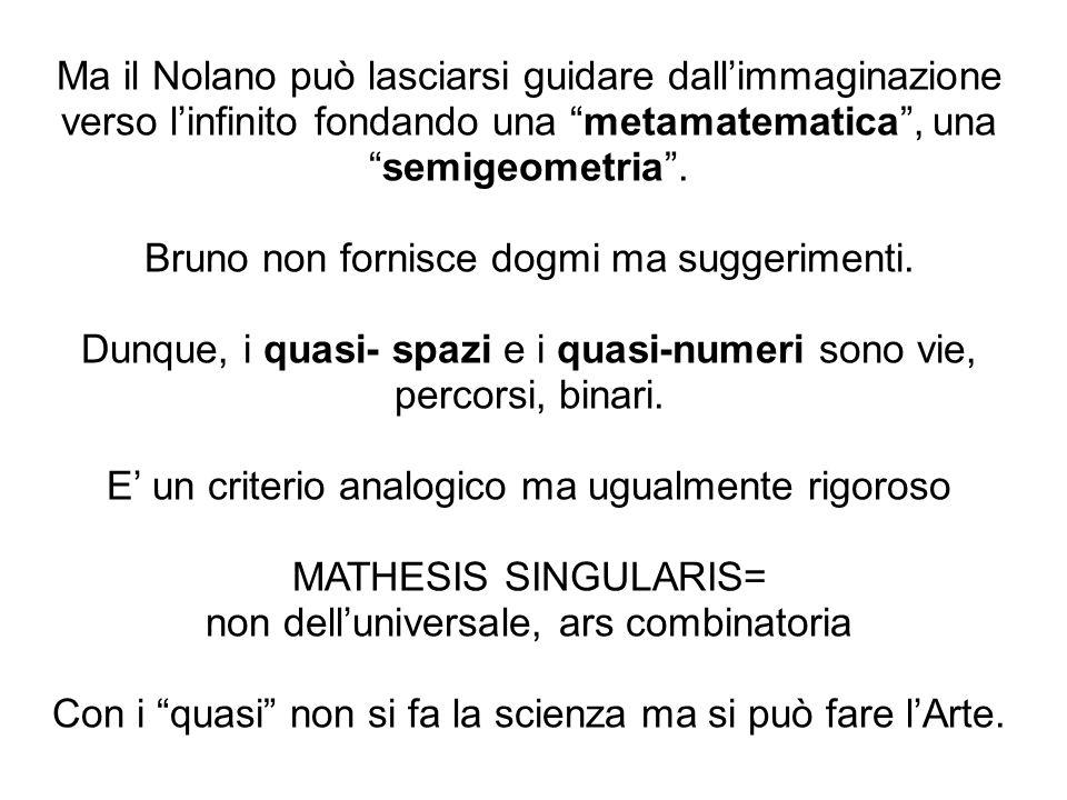 Ma il Nolano può lasciarsi guidare dallimmaginazione verso linfinito fondando una metamatematica, unasemigeometria. Bruno non fornisce dogmi ma sugger