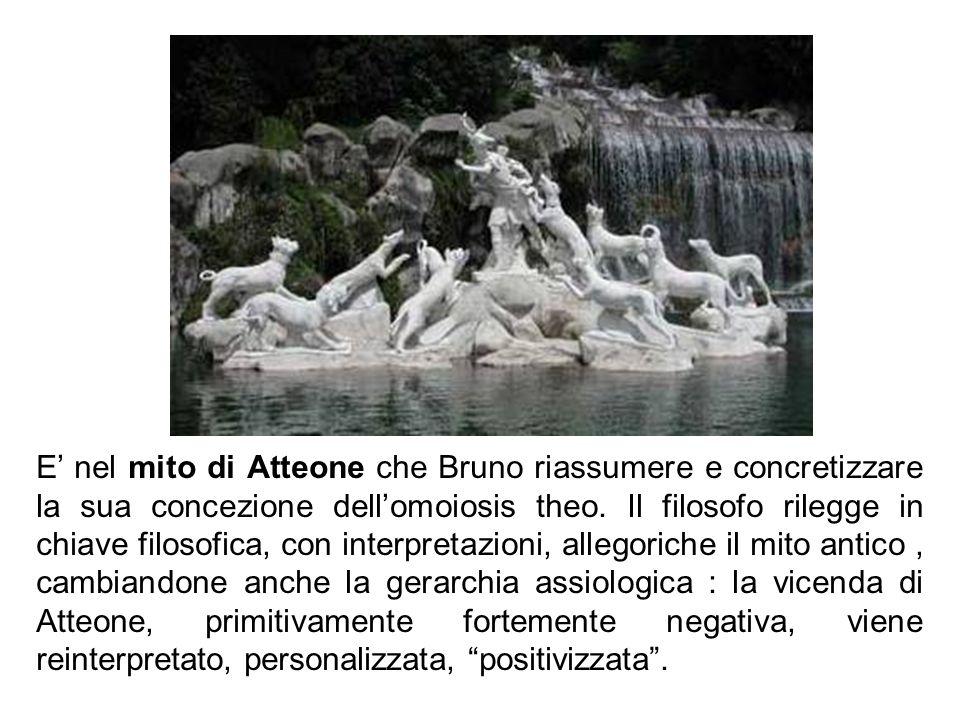Mit o di Att eo ne E nel mito di Atteone che Bruno riassumere e concretizzare la sua concezione dellomoiosis theo. Il filosofo rilegge in chiave filos