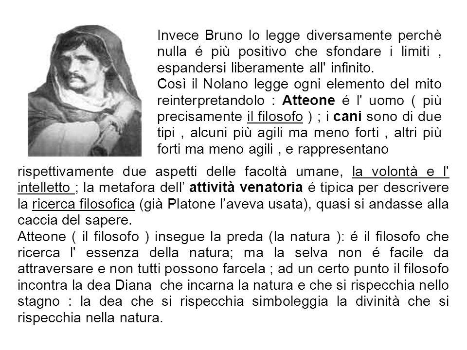 Invece Bruno lo legge diversamente perchè nulla é più positivo che sfondare i limiti, espandersi liberamente all' infinito. Così il Nolano legge ogni