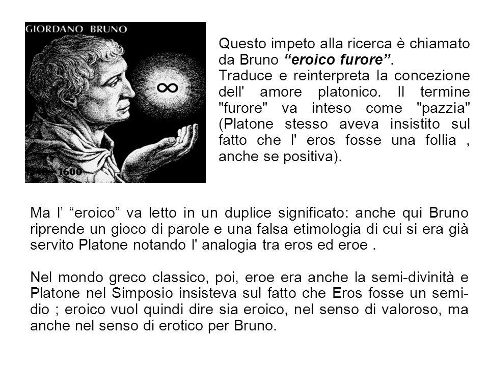 Questo impeto alla ricerca è chiamato da Bruno eroico furore. Traduce e reinterpreta la concezione dell' amore platonico. Il termine