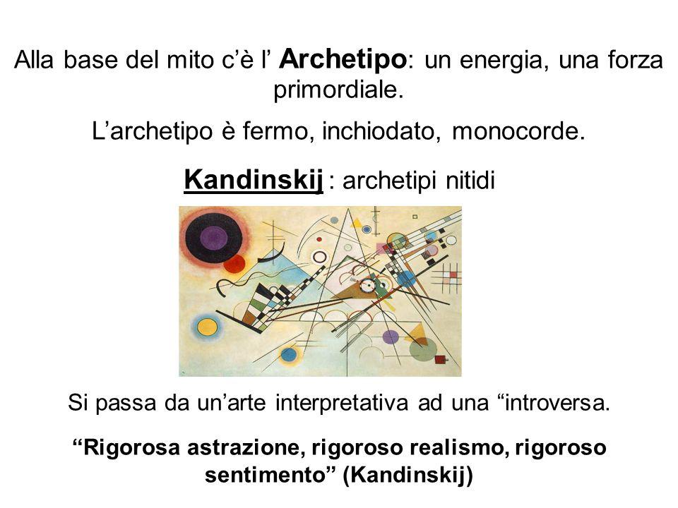 Alla base del mito cè l Archetipo : un energia, una forza primordiale. Larchetipo è fermo, inchiodato, monocorde. Kandinskij : archetipi nitidi Si pas