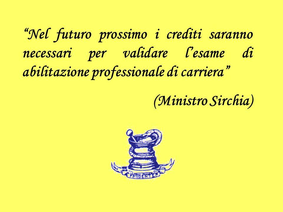 Nel futuro prossimo i crediti saranno necessari per validare lesame di abilitazione professionale di carriera (Ministro Sirchia)