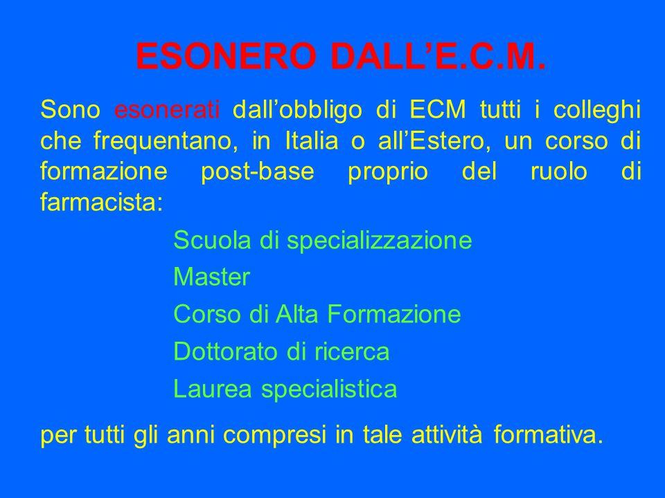 ESONERO DALLE.C.M. Sono esonerati dallobbligo di ECM tutti i colleghi che frequentano, in Italia o allEstero, un corso di formazione post-base proprio