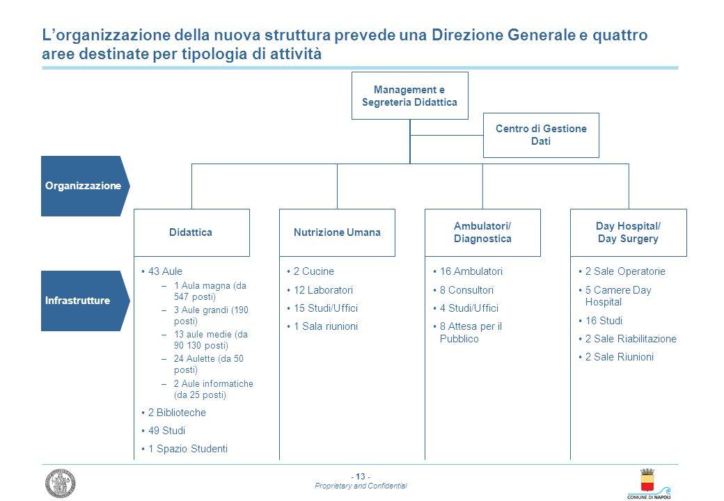 - 13 - Proprietary and Confidential Lorganizzazione della nuova struttura prevede una Direzione Generale e quattro aree destinate per tipologia di att