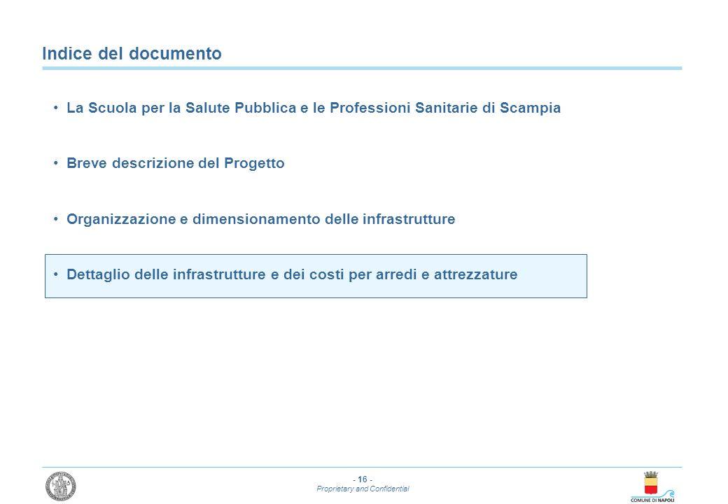- 16 - Proprietary and Confidential Indice del documento La Scuola per la Salute Pubblica e le Professioni Sanitarie di Scampia Breve descrizione del