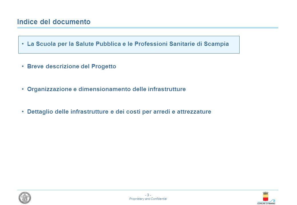 - 3 - Proprietary and Confidential Indice del documento La Scuola per la Salute Pubblica e le Professioni Sanitarie di Scampia Breve descrizione del P