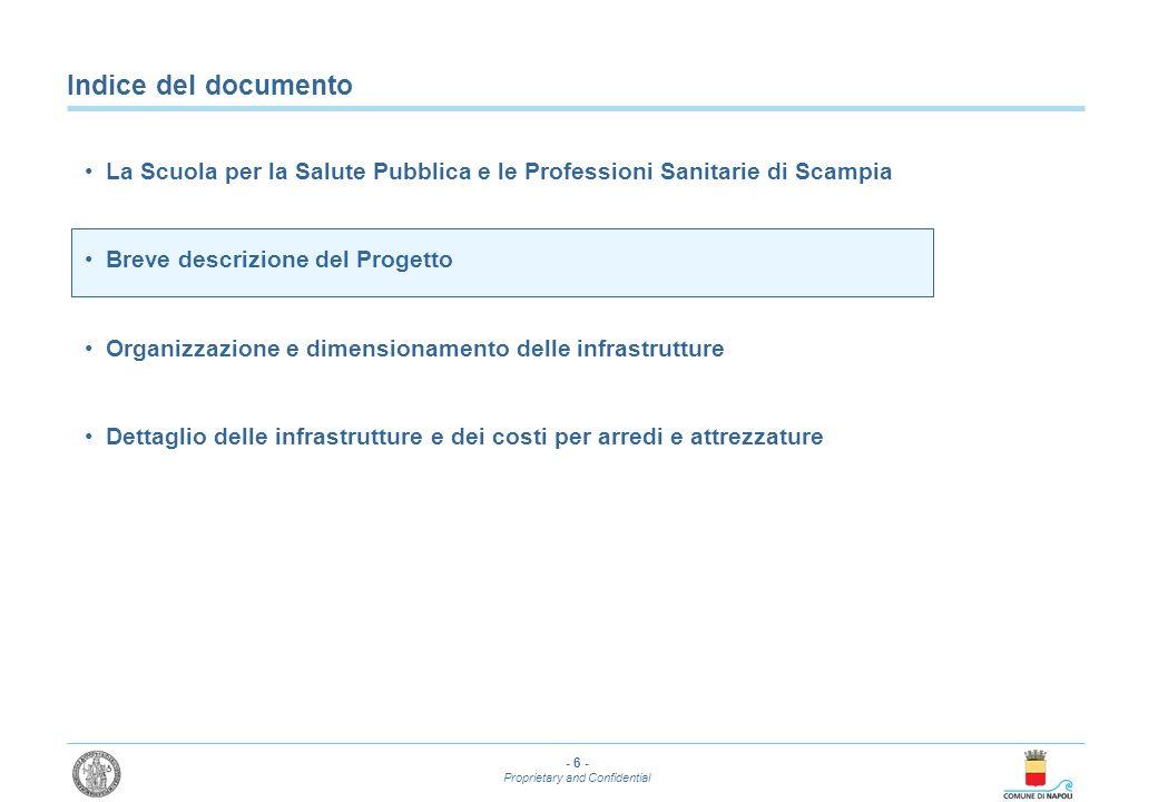 - 6 - Proprietary and Confidential Indice del documento La Scuola per la Salute Pubblica e le Professioni Sanitarie di Scampia Breve descrizione del P