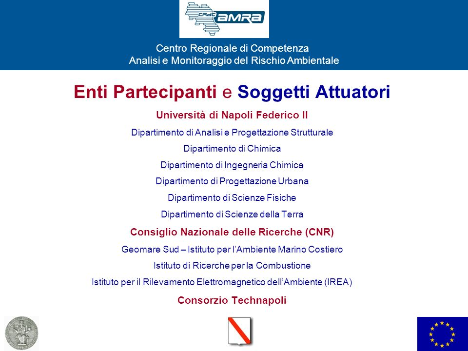 Centro Regionale di Competenza Analisi e Monitoraggio del Rischio Ambientale Enti Partecipanti e Soggetti Attuatori Università di Napoli Federico II D