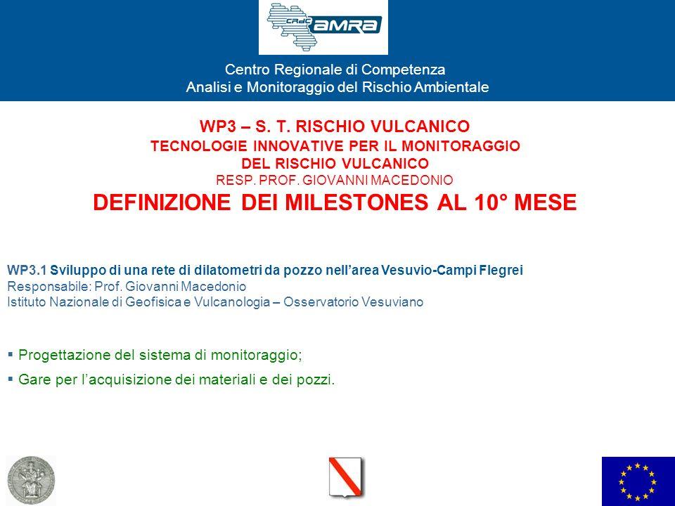 Centro Regionale di Competenza Analisi e Monitoraggio del Rischio Ambientale WP3 – S. T. RISCHIO VULCANICO TECNOLOGIE INNOVATIVE PER IL MONITORAGGIO D
