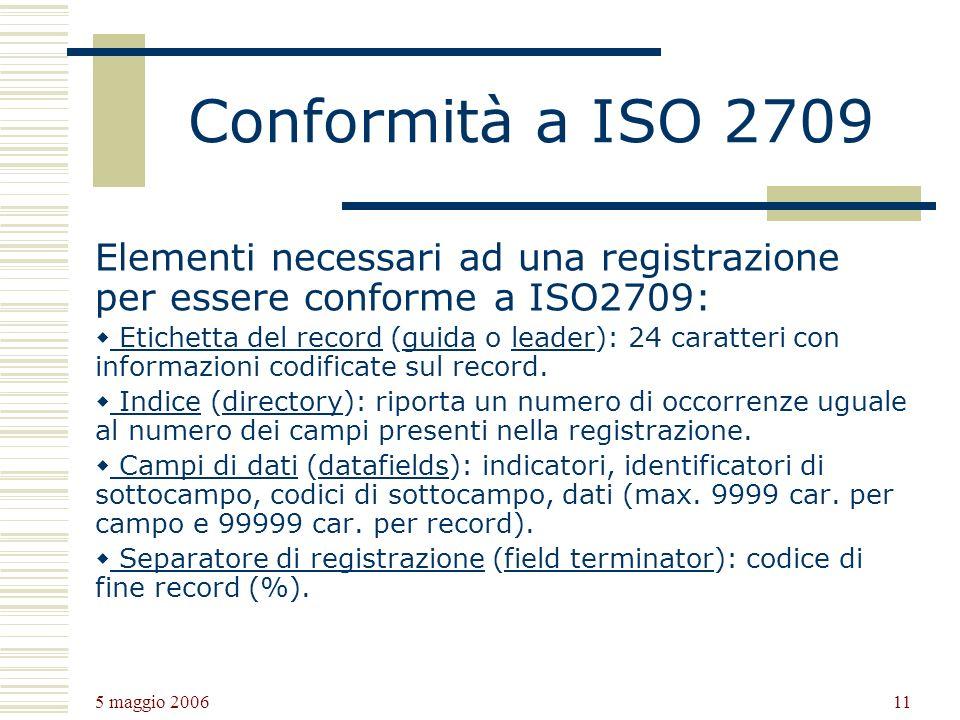 5 maggio 2006 11 Conformità a ISO 2709 Elementi necessari ad una registrazione per essere conforme a ISO2709: Etichetta del record (guida o leader): 24 caratteri con informazioni codificate sul record.