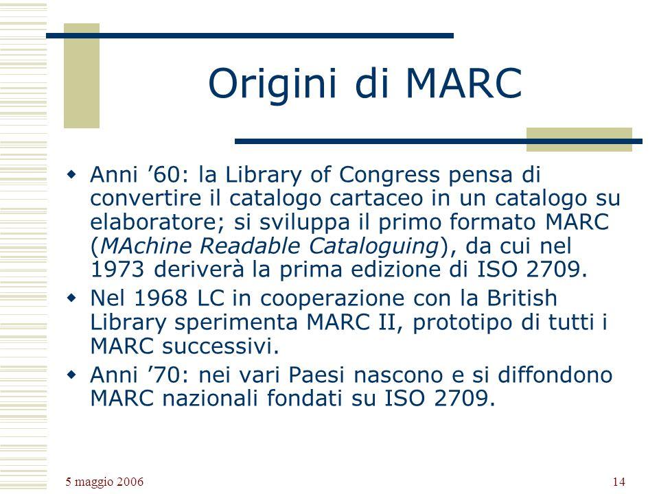 5 maggio 2006 14 Origini di MARC Anni 60: la Library of Congress pensa di convertire il catalogo cartaceo in un catalogo su elaboratore; si sviluppa il primo formato MARC (MAchine Readable Cataloguing), da cui nel 1973 deriverà la prima edizione di ISO 2709.