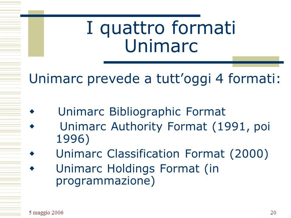 5 maggio 2006 20 I quattro formati Unimarc Unimarc prevede a tuttoggi 4 formati: Unimarc Bibliographic Format Unimarc Authority Format (1991, poi 1996
