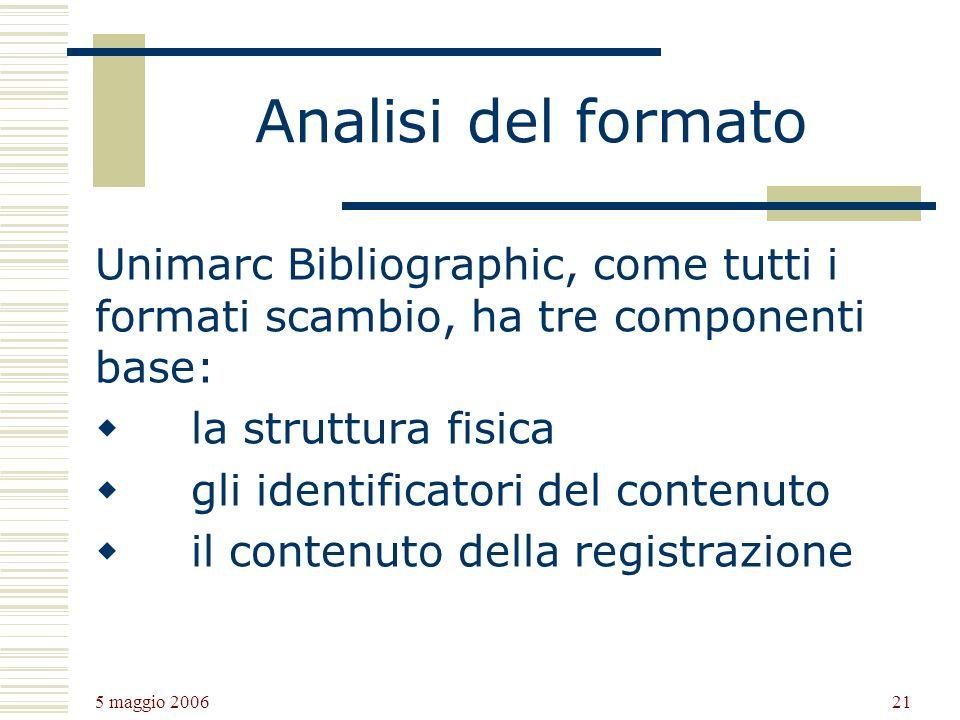 5 maggio 2006 21 Analisi del formato Unimarc Bibliographic, come tutti i formati scambio, ha tre componenti base: la struttura fisica gli identificatori del contenuto il contenuto della registrazione