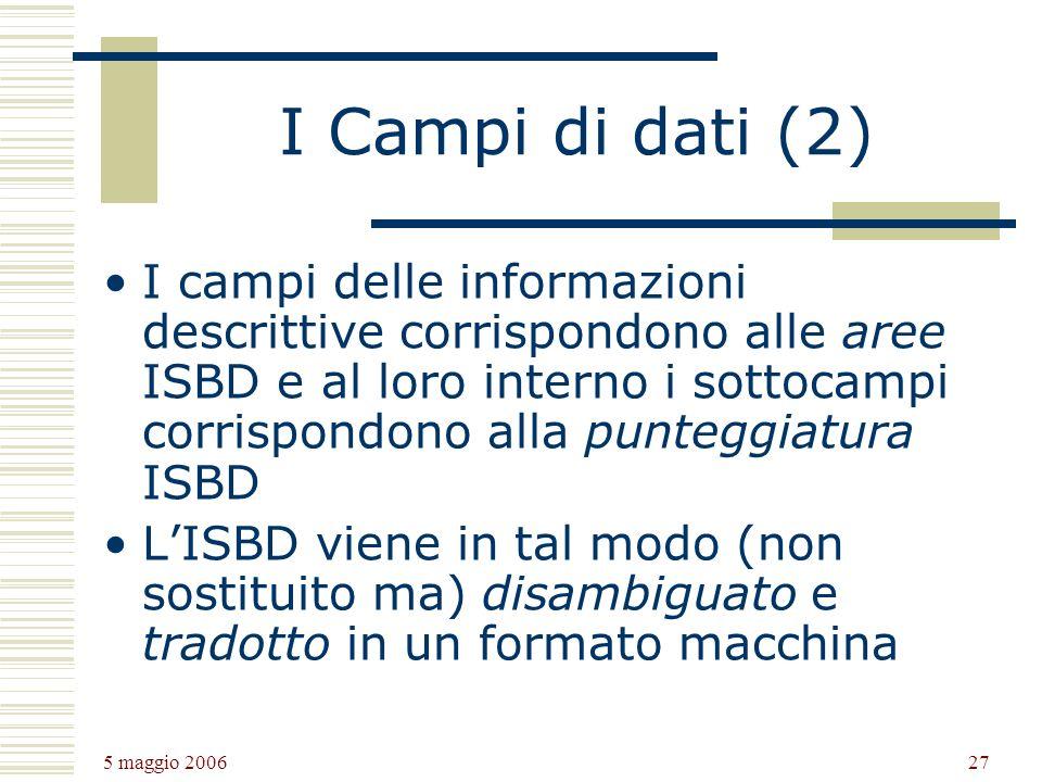 5 maggio 2006 27 I Campi di dati (2) I campi delle informazioni descrittive corrispondono alle aree ISBD e al loro interno i sottocampi corrispondono alla punteggiatura ISBD LISBD viene in tal modo (non sostituito ma) disambiguato e tradotto in un formato macchina