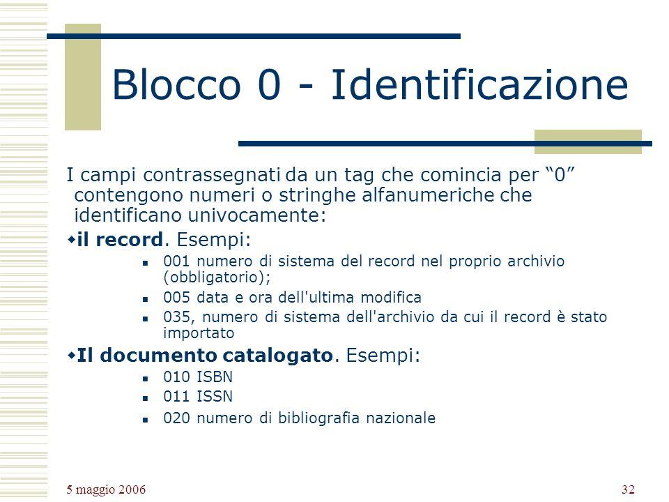 5 maggio 2006 32 Blocco 0 - Identificazione I campi contrassegnati da un tag che comincia per 0 contengono numeri o stringhe alfanumeriche che identificano univocamente: il record.