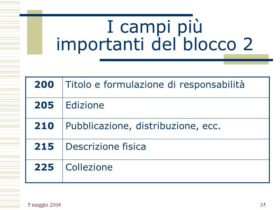 5 maggio 2006 35 I campi più importanti del blocco 2 200Titolo e formulazione di responsabilità 205Edizione 210Pubblicazione, distribuzione, ecc.