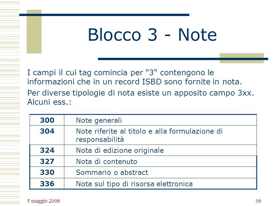 5 maggio 2006 36 Blocco 3 - Note I campi il cui tag comincia per 3 contengono le informazioni che in un record ISBD sono fornite in nota.