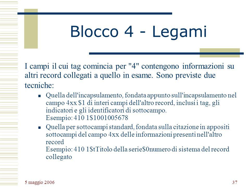 5 maggio 2006 37 Blocco 4 - Legami I campi il cui tag comincia per 4 contengono informazioni su altri record collegati a quello in esame.