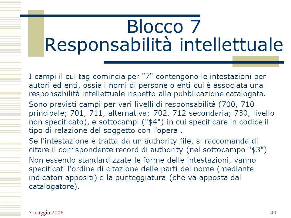 5 maggio 2006 40 Blocco 7 Responsabilità intellettuale I campi il cui tag comincia per 7 contengono le intestazioni per autori ed enti, ossia i nomi di persone o enti cui è associata una responsabilità intellettuale rispetto alla pubblicazione catalogata.