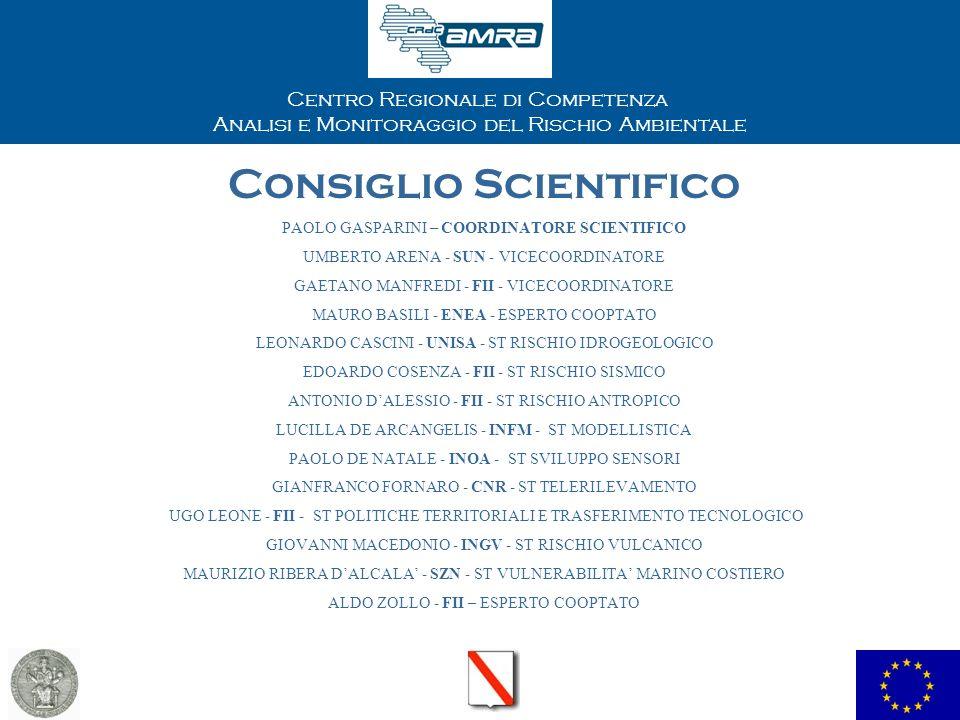 Centro Regionale di Competenza Analisi e Monitoraggio del Rischio Ambientale Consiglio Scientifico PAOLO GASPARINI – COORDINATORE SCIENTIFICO UMBERTO ARENA - SUN - VICECOORDINATORE GAETANO MANFREDI - FII - VICECOORDINATORE MAURO BASILI - ENEA - ESPERTO COOPTATO LEONARDO CASCINI - UNISA - ST RISCHIO IDROGEOLOGICO EDOARDO COSENZA - FII - ST RISCHIO SISMICO ANTONIO DALESSIO - FII - ST RISCHIO ANTROPICO LUCILLA DE ARCANGELIS - INFM - ST MODELLISTICA PAOLO DE NATALE - INOA - ST SVILUPPO SENSORI GIANFRANCO FORNARO - CNR - ST TELERILEVAMENTO UGO LEONE - FII - ST POLITICHE TERRITORIALI E TRASFERIMENTO TECNOLOGICO GIOVANNI MACEDONIO - INGV - ST RISCHIO VULCANICO MAURIZIO RIBERA DALCALA - SZN - ST VULNERABILITA MARINO COSTIERO ALDO ZOLLO - FII – ESPERTO COOPTATO
