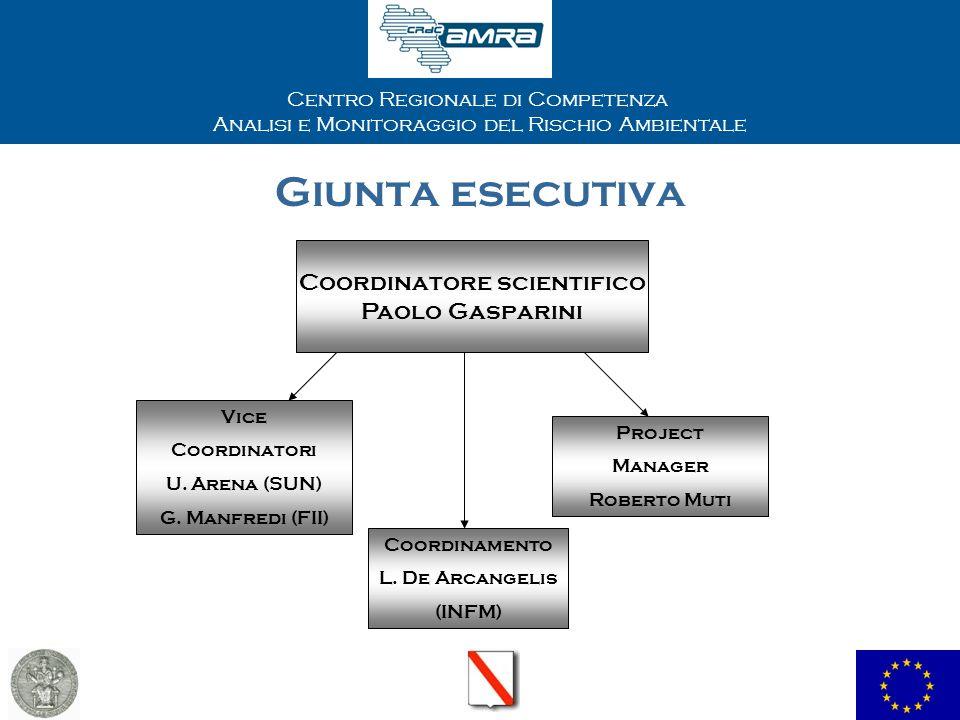Centro Regionale di Competenza Analisi e Monitoraggio del Rischio Ambientale Giunta esecutiva Coordinatore scientifico Paolo Gasparini Vice Coordinatori U.