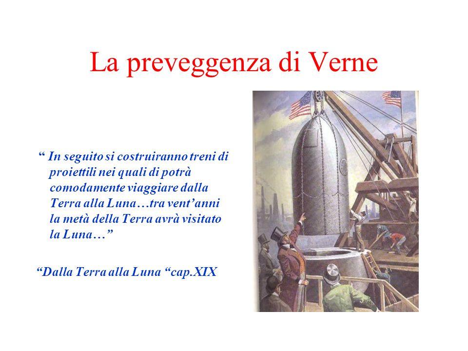 La preveggenza di Verne In seguito si costruiranno treni di proiettili nei quali di potrà comodamente viaggiare dalla Terra alla Luna…tra ventanni la