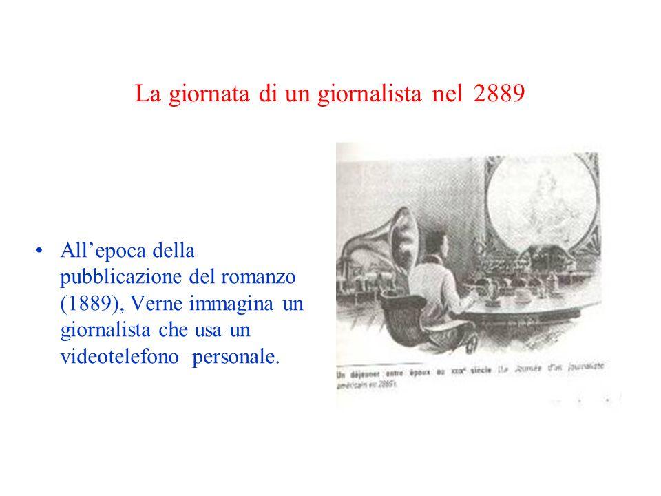 La giornata di un giornalista nel 2889 Allepoca della pubblicazione del romanzo (1889), Verne immagina un giornalista che usa un videotelefono persona