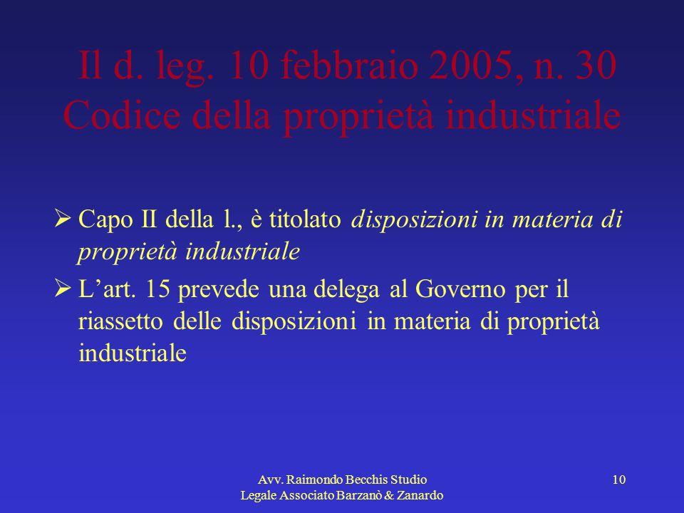 Avv. Raimondo Becchis Studio Legale Associato Barzanò & Zanardo 10 Il d. leg. 10 febbraio 2005, n. 30 Codice della proprietà industriale Capo II della