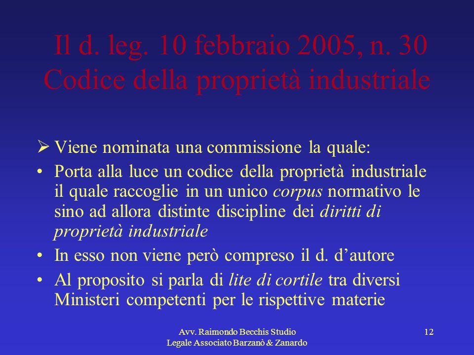 Avv. Raimondo Becchis Studio Legale Associato Barzanò & Zanardo 12 Il d. leg. 10 febbraio 2005, n. 30 Codice della proprietà industriale Viene nominat