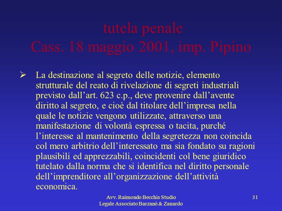 Avv. Raimondo Becchis Studio Legale Associato Barzanò & Zanardo 31 tutela penale Cass. 18 maggio 2001, imp. Pipino La destinazione al segreto delle no