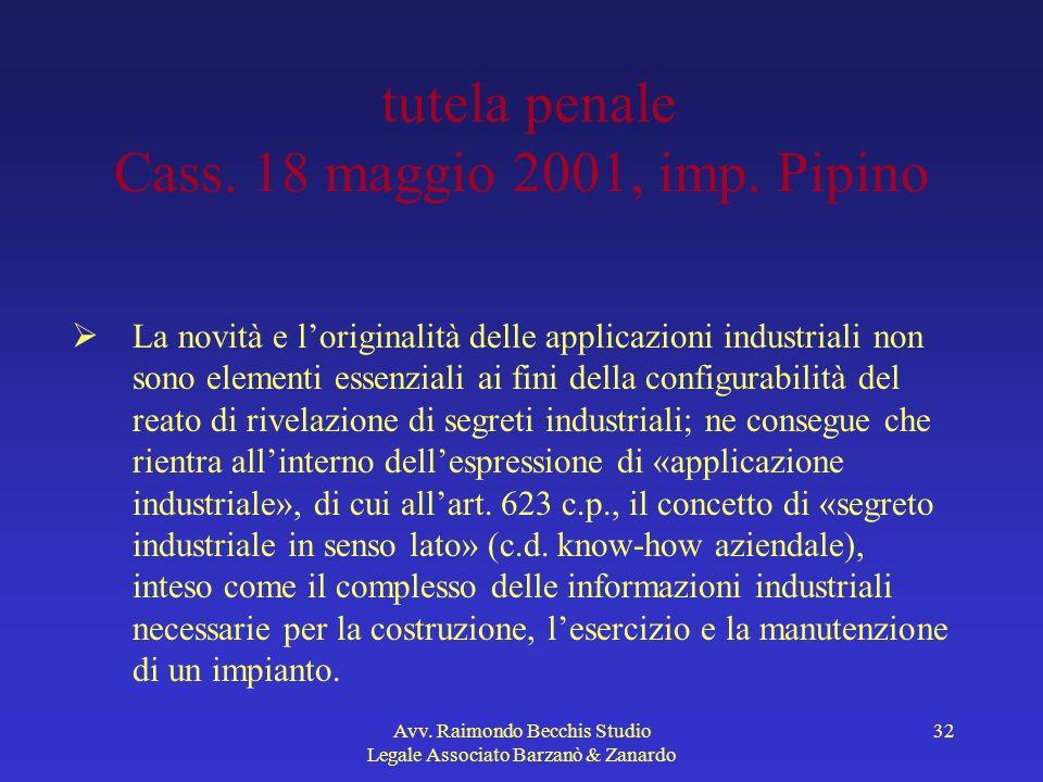 Avv. Raimondo Becchis Studio Legale Associato Barzanò & Zanardo 32 tutela penale Cass. 18 maggio 2001, imp. Pipino La novità e loriginalità delle appl