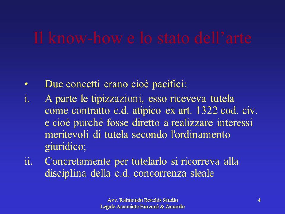 Avv. Raimondo Becchis Studio Legale Associato Barzanò & Zanardo 4 Il know-how e lo stato dellarte Due concetti erano cioè pacifici: i.A parte le tipiz