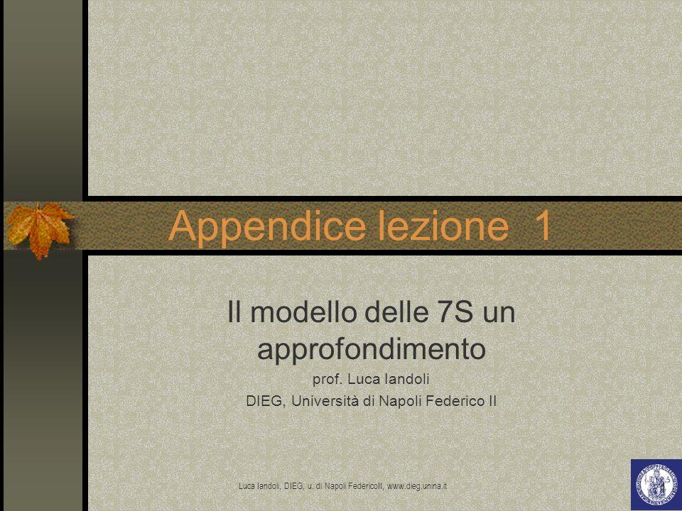 Luca Iandoli, DIEG, u. di Napoli FedericoII, www.dieg.unina.it 1 Appendice lezione 1 Il modello delle 7S un approfondimento prof. Luca Iandoli DIEG, U