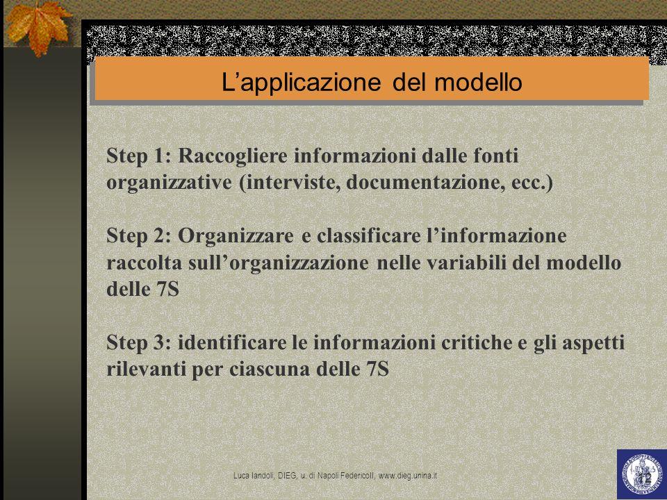 Luca Iandoli, DIEG, u. di Napoli FedericoII, www.dieg.unina.it 12 Step 1: Raccogliere informazioni dalle fonti organizzative (interviste, documentazio