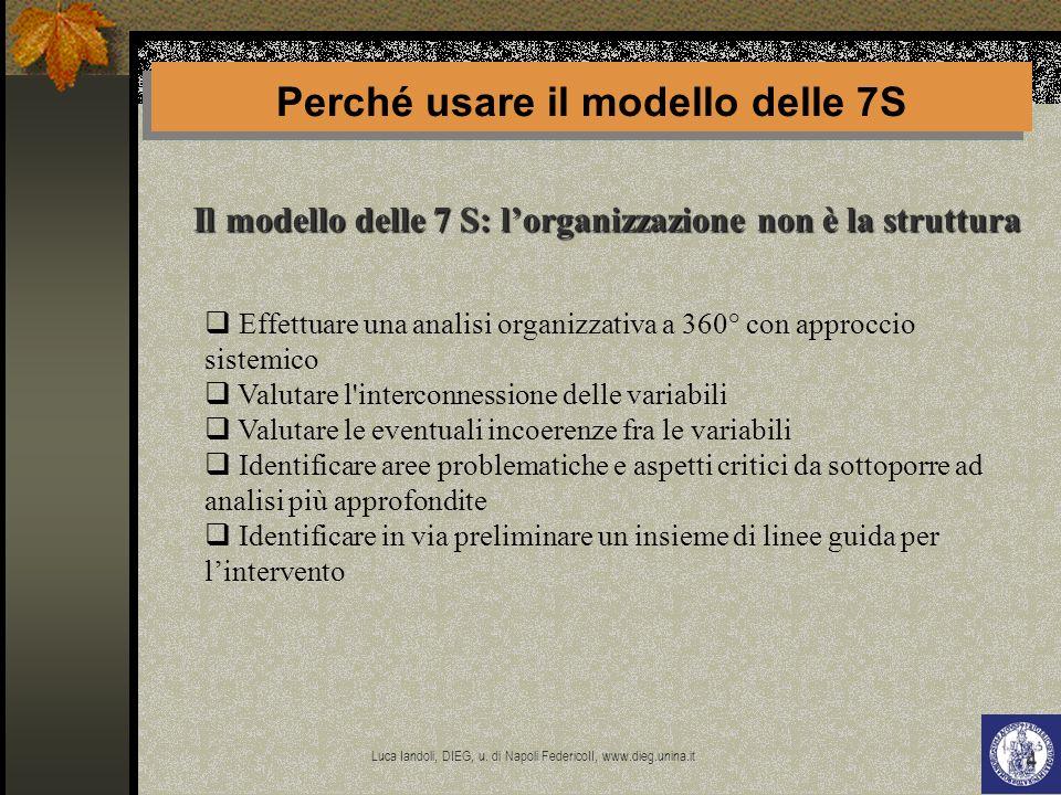 Luca Iandoli, DIEG, u. di Napoli FedericoII, www.dieg.unina.it 4 Il modello delle 7 S: lorganizzazione non è la struttura Perché usare il modello dell