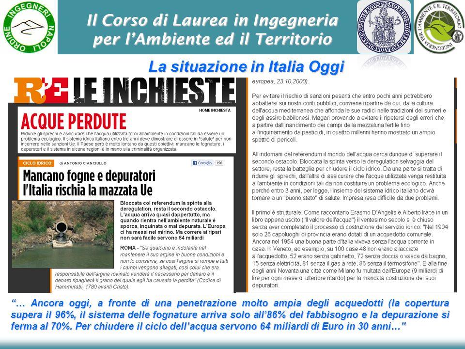 Il Corso di Laurea in Ingegneria per lAmbiente ed il Territorio La situazione in Italia Oggi … Ancora oggi, a fronte di una penetrazione molto ampia d