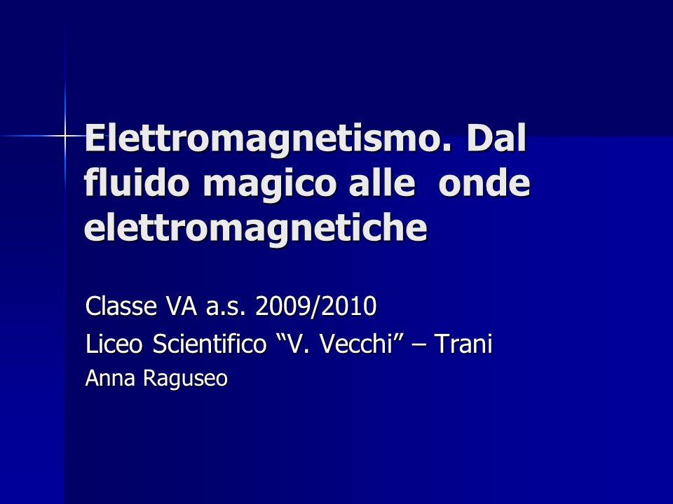 Elettromagnetismo. Dal fluido magico alle onde elettromagnetiche Classe VA a.s. 2009/2010 Liceo Scientifico V. Vecchi – Trani Anna Raguseo