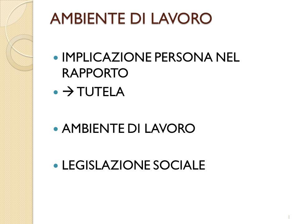AMBIENTE DI LAVORO IMPLICAZIONE PERSONA NEL RAPPORTO TUTELA AMBIENTE DI LAVORO LEGISLAZIONE SOCIALE 1