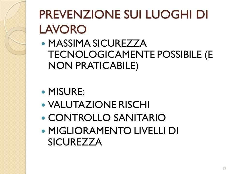 PREVENZIONE SUI LUOGHI DI LAVORO MASSIMA SICUREZZA TECNOLOGICAMENTE POSSIBILE (E NON PRATICABILE) MISURE: VALUTAZIONE RISCHI CONTROLLO SANITARIO MIGLI