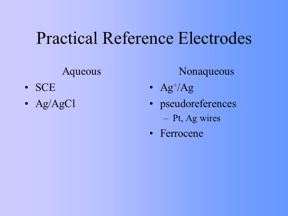 Practical Reference Electrodes Aqueous SCE Ag/AgCl Nonaqueous Ag + /Ag pseudoreferences –Pt, Ag wires Ferrocene