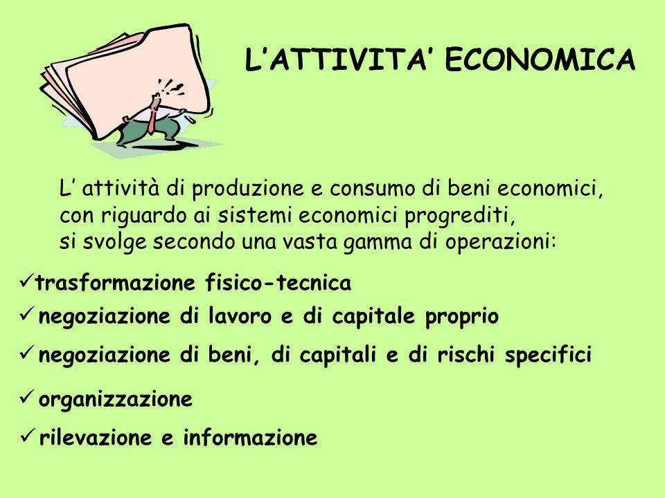 L attività di produzione e consumo di beni economici, con riguardo ai sistemi economici progrediti, si svolge secondo una vasta gamma di operazioni: L