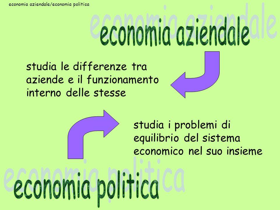studia i problemi di equilibrio del sistema economico nel suo insieme studia le differenze tra aziende e il funzionamento interno delle stesse economi