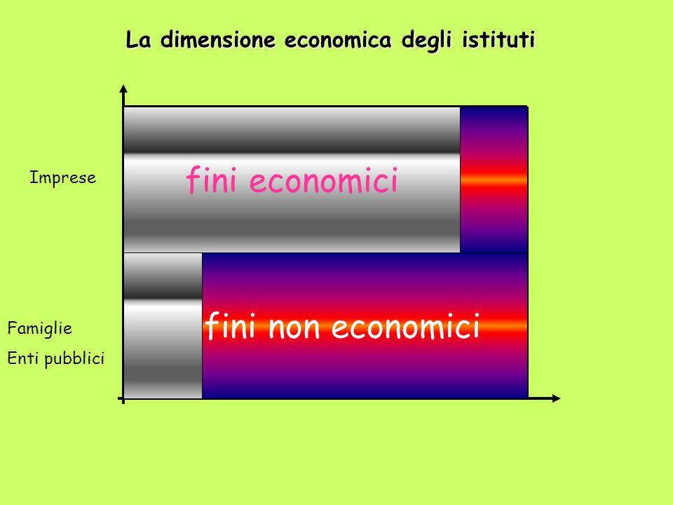 Famiglie Enti pubblici Imprese fini non economici fini economici La dimensione economica degli istituti