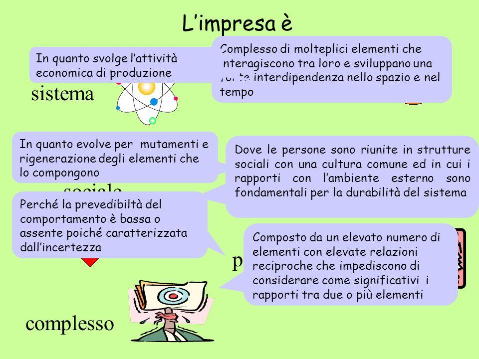 Limpresa è un sistema dinamico sociale aperto economico complesso probabilistico sistema Complesso di molteplici elementi che interagiscono tra loro e