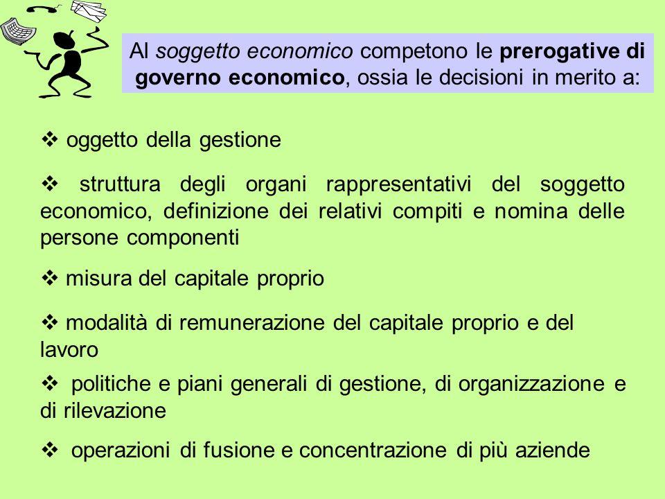 Al soggetto economico competono le prerogative di governo economico, ossia le decisioni in merito a: operazioni di fusione e concentrazione di più azi