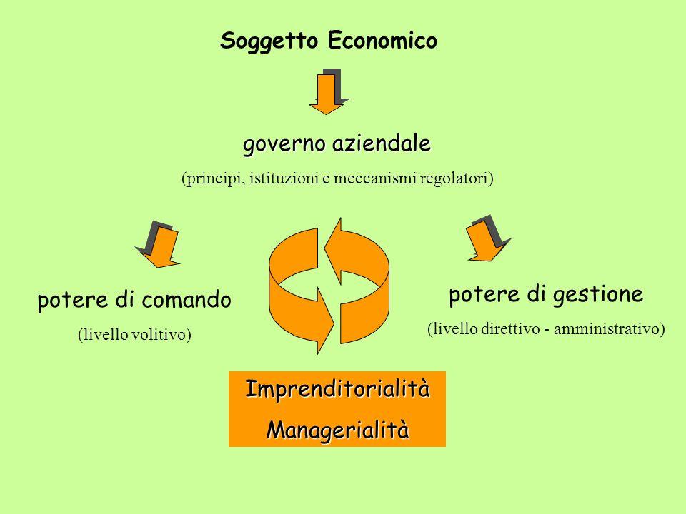 Soggetto Economico governo aziendale (principi, istituzioni e meccanismi regolatori) potere di comando (livello volitivo) potere di gestione (livello