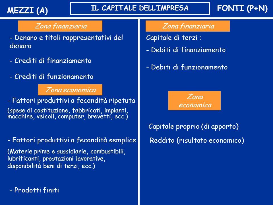 MEZZI (A)FONTI (P+N) IL CAPITALE DELLIMPRESA Zona economica - Fattori produttivi a fecondità ripetuta (spese di costituzione, fabbricati, impianti, ma